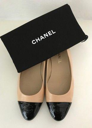 Kaufe meinen Artikel bei #Kleiderkreisel http://www.kleiderkreisel.de/damenschuhe/ballerinas/160334013-original-chanel-ballerinas-39-beige-schwarz-leder-dust-bag-tasche-ballet-flats-6