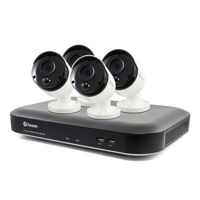 Swann Security System HSSWDVK-849804 8 Channel 5MP 2TB DVR with 4 Outdoor Thermal-Sensing Bullet Security Cameras