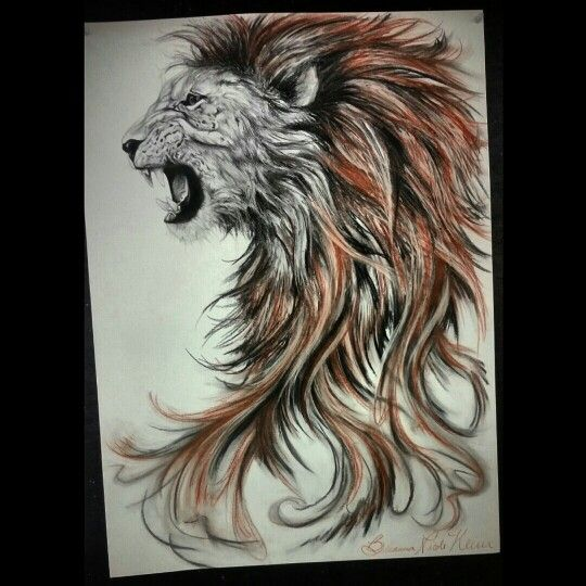 Finished lion roaring drawing