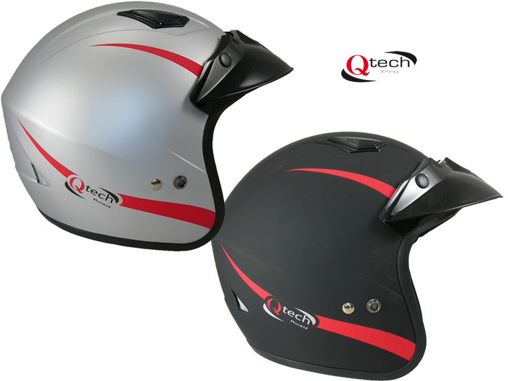 Open Face Motorcycle / Trials Helmet by Qtech  Applications: Motorcycle / Scooter / Trials / Motorbike  Suitable for Men or Woman  Seat-Belt Type Fastening  Thermo-Resin Construction  ECE 22-05 Safety Accreditation  Removable Peak  Removable Cheek Pads  Air Cooling Vents  Helmet Weight 1000gms +/- 50gms  Exclusive to Qtech  Next Day Dispatch From Stock  Tel 01270 841877 £24.95