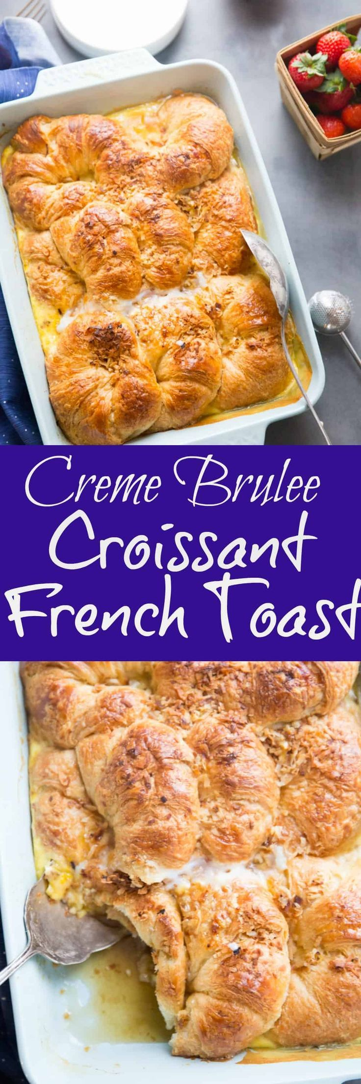 Fluffy croissants rest in a sweet caramel sauce and are surrounded by a creamy, egg filling.    This croissant French toast is a real treat; it's like dessert for breakfast! via @Lemonsforlulu