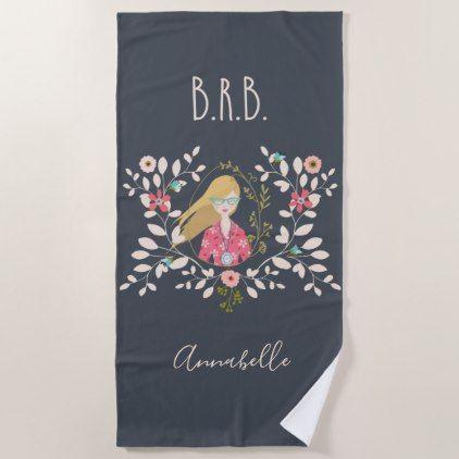Blonde Long Hair Girl - Selfie Portrait Beach Towel - girl gifts special unique diy gift idea