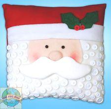 Felt Embroidery Kit ~ Design Works Santa Claus Christmas Button Pillow #DW5190