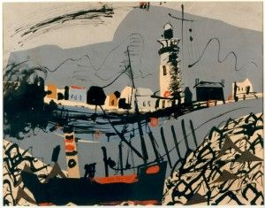 """Newhaven"" by John Piper, 1937 (ink, gouache & collage)"