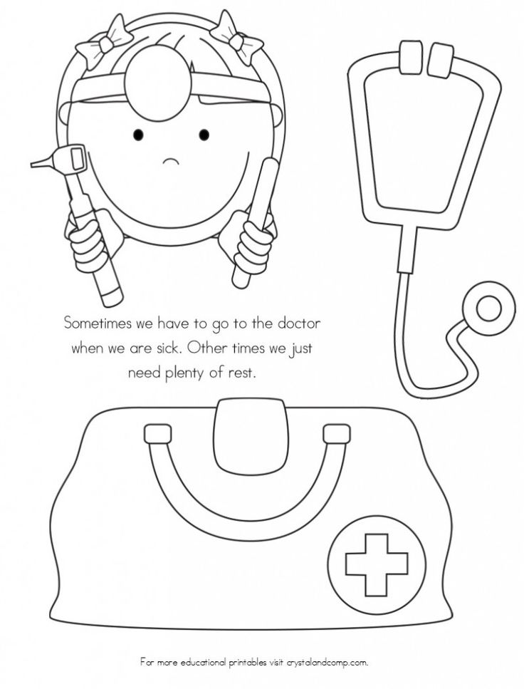 No More Spreading Germs Coloring Pages for Kids Doctor