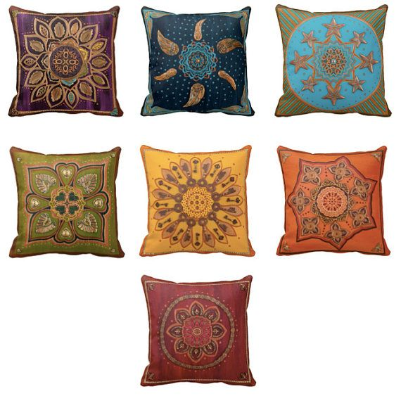 Throw Blanket And Decorative Pillow Set : Set of SEVEN Chakra: Throw Pillow COVERS, Spiritual Decor, colorful, mandalas, rainbow, pillow ...