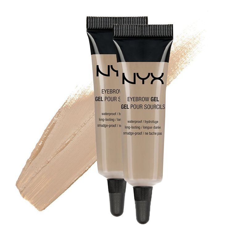 NYX Eyebrow Gel- Blonde / Pack of 2. Highly pigmented brow gel. Fills and shapes brow providing a long-wear result. he smudge-free, waterproof formula seals brows in place. Using an angled brush, dip into gel and outline the perfect brow. Fill in sparse areas and blend with a clean spoolie brush.