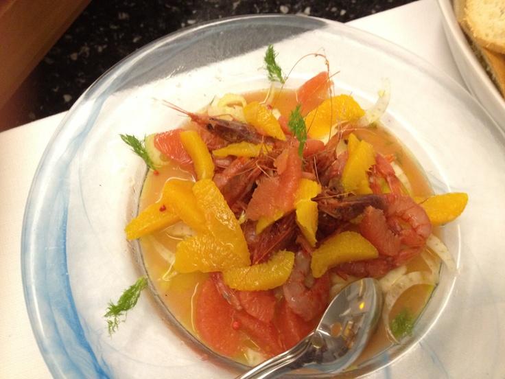 Gamberetti con arancia