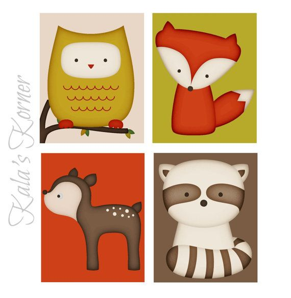 Woodland Forest Animal Nursery Art Print Set Decor By Kalaskorner Kala S Korner Pinterest And
