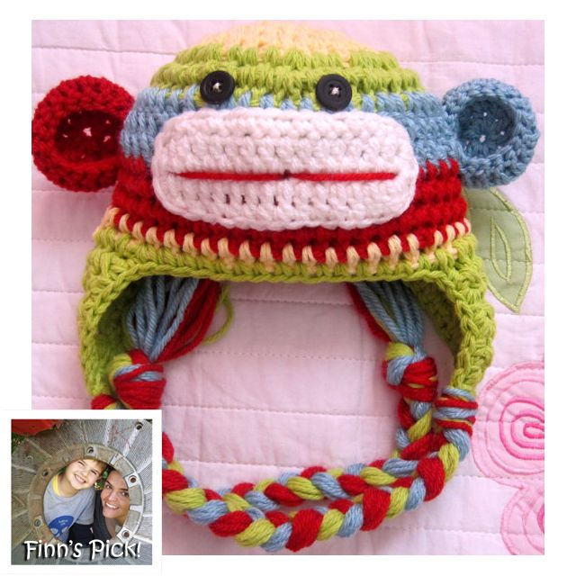 "My son Finn picked today's knithack - it's a cute one! ""Finn's Pick: Sock Monkey Hat"" #crochet #sockmonkey #rainbowMonkeys Hats, Sock Monkeys, Crochet Baby Hats, Monkeys Newborns, Colors Stripes, Funny Socks, 18 Month, Socks Monkeys, The Originals"