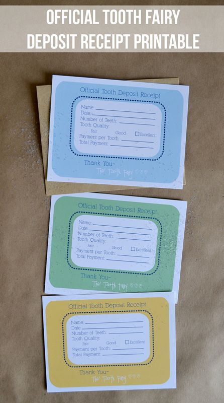 Official Tooth Fairy Deposit Receipt Printable - the tooth fairy leaves behind a receipt with the payment