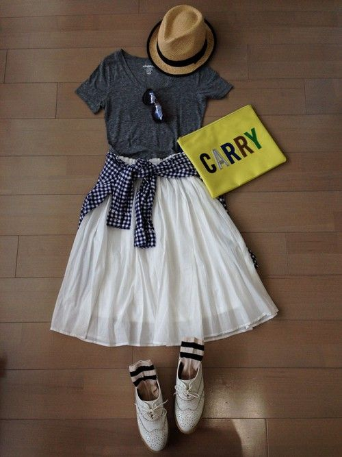 Tシャツ*OLD NAVY ギンガムチェックシャツ*UNIQLO その他*ブランド不明   ♪( ´▽`) #Gingham #Spring #Style #Outfits