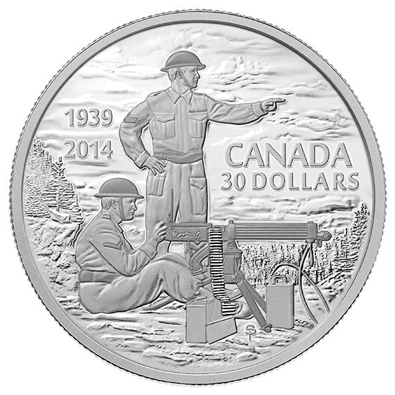 2 oz. Fine Silver Coin - Canadian Machine Gunner in Training - 75th Anniversary of the Declaration of the Second World War - Mintage: 5,000 (2014)