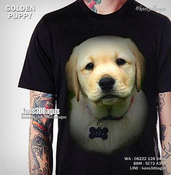 Kaos GOLDEN RETRIEVER PUPPY, Kaos ANAK ANJING LUCU, Kaos Doggy, Kaos3D, Dog Lover, https://instagram.com/kaos3dbagus, WA : 08222 128 3456, LINE : Kaos3DBagus