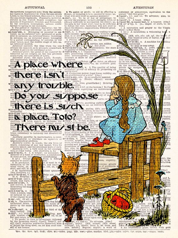 Wizard Of Oz - Dorothy Oz Quote - Dictionary Print Vintage Book Page Art…