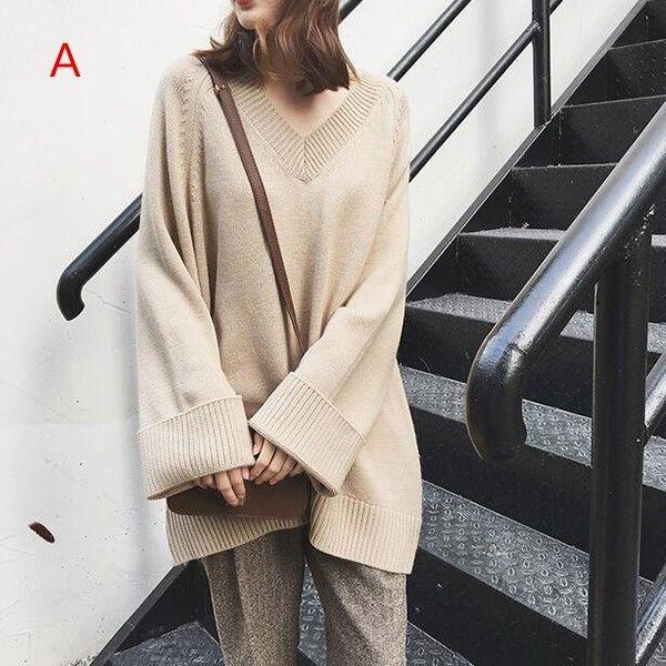 「レディースVネックトップス オフショルニットセーター 春薄い ゆったりセーター 茶色 柔らかい」の商品情報やレビューなど。