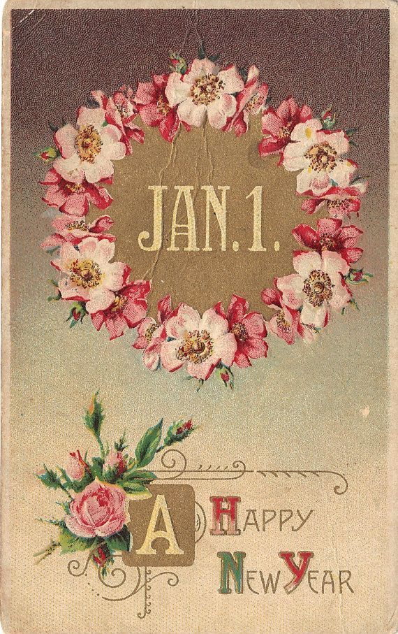 A Happy New Year Vintage Postcard by heritagepostcards on Etsy, $3.75: