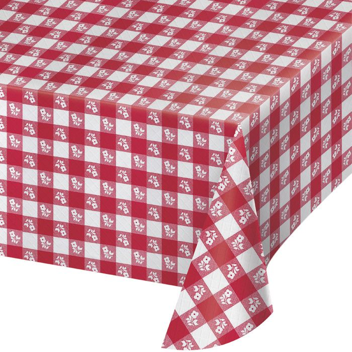 Bulk Red Gingham Plastic Tablecloths 12 ct - Napkins.com