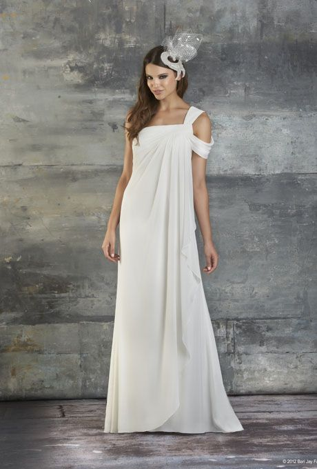 Brides: Bari Jay Wedding Dresses - Spring 2013. Style 2037, one-shoulder chiffon sheath wedding dress with a shirred sleeve and bust details, Bari Jay