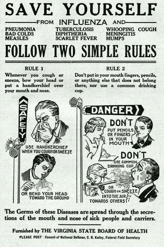 In September 1919, the Virginia State Board of Health provided these tips  to avoid the flu and other illnesses.This particular flyer c…