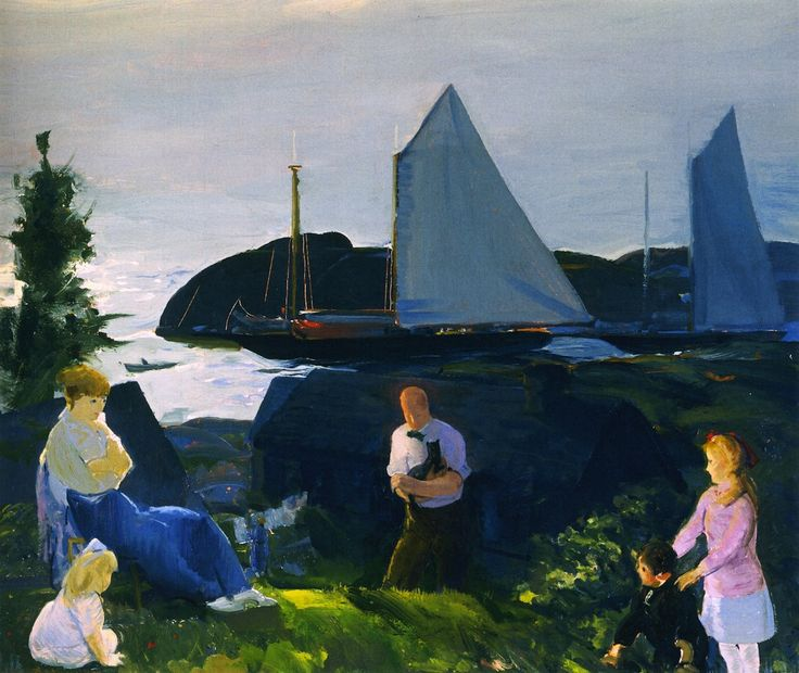 George Wesley Bellows   [American Ashcan School Painter, 1882-1925]  Evening Group, 1914  tempera on canvas   Memorial Art Gallery of the University of Rochester (United States)