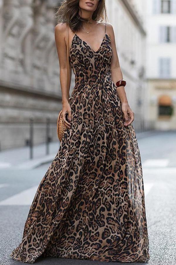 Sexy Leopard Print Sleeveless Maxi Dress 11