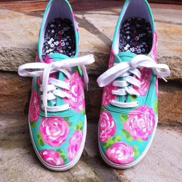 CUSTOM painted shoes Canvas, ked-like tennis shoes. Hand painted with Martha Stewart paints and sprayed with a sealing spray. If you are interested, comment and I will make you a separate listing with your own size! Shoes Sneakers