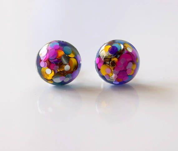 Resin stud earrings Tiny simple studs Glitter studs Tiny stud