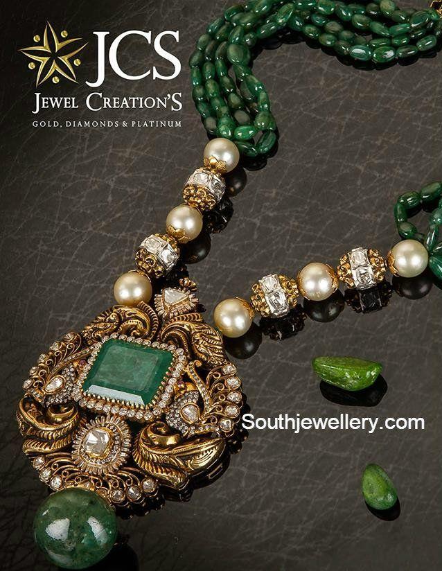 Emeralds Mala with Diamond Peacock Pendant photo