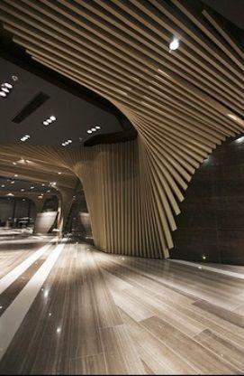 Plafond, bois, design fluide, bâton de bois, la conception paramétrique, l'architecture