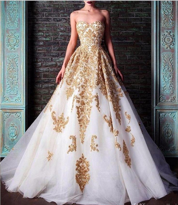 Ucuz beyaz abiye altın dantel aplike balo elbisesi sevgilisi kolsuz taban uzunluğu şık elbise kadın düğün için, Satın Kalite abiye doğrudan Çin Tedarikçilerden: beyaz abiye altın dantel aplike balo elbisesi sevgilisi kolsuz taban uzunluğu şık elbise kadın düğün için