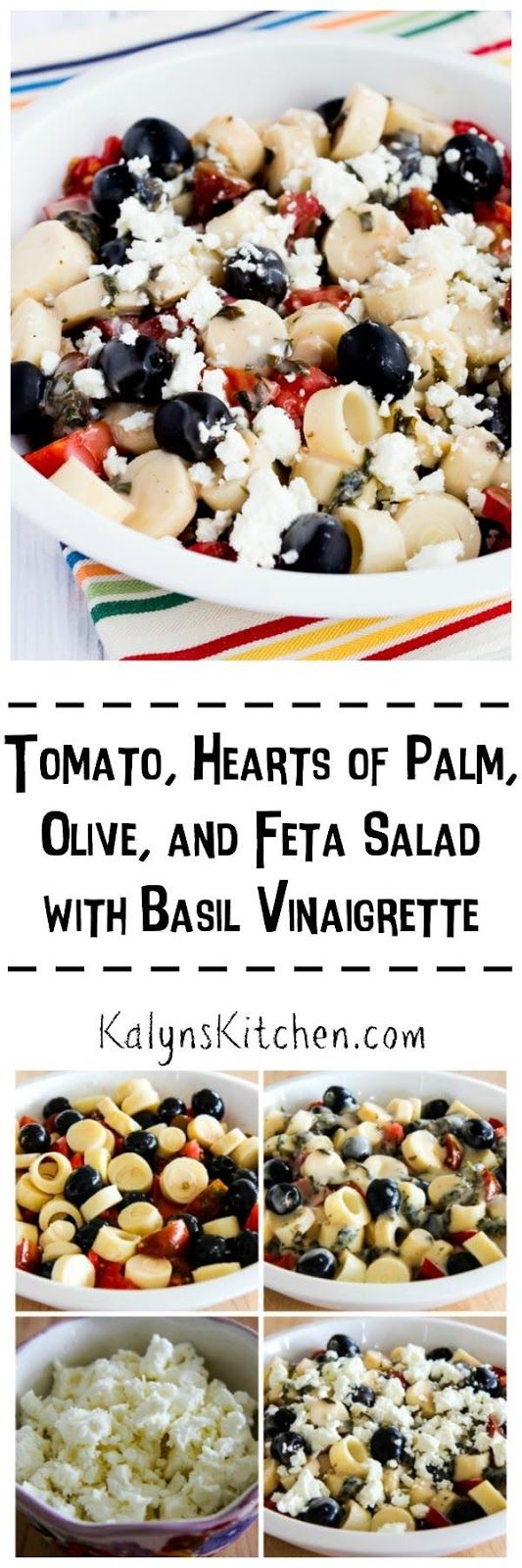 Make this Tomato, Hearts of Palm, Olive, and Feta Salad with Basil Vinaigrette NOW while you can still get these amazing summer flavors! [found on KalynsKitchen.com]