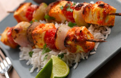 Tofu kebabs with a mustard mayonnaise dressing.  Just for the dressing really!