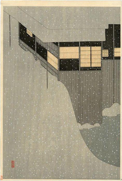 Settai Kamura; 'Snowy Morning' Woodblock Print, 1924.