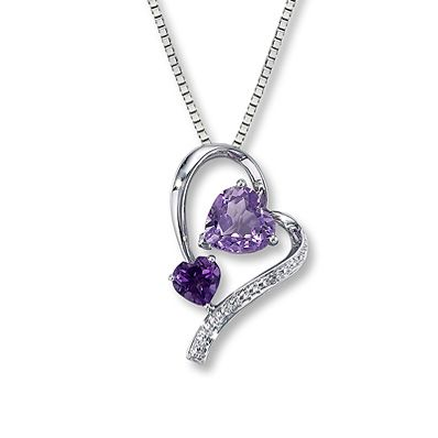 Amethyst Necklace Diamond Accent  Sterling Silver