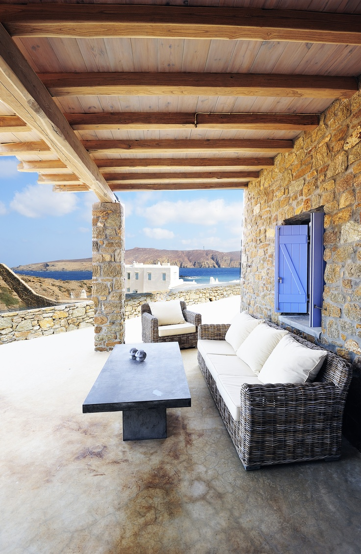 Blue skies and waters surround luxury villa Aesara in Mykonos, Greece