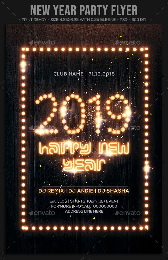 2019 New Year Party Flyer Template Psd