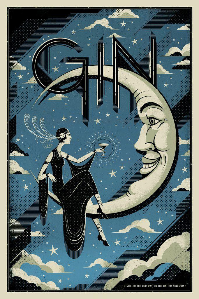 Gin Art Deco Posters Art Deco Illustration Art Deco Artwork