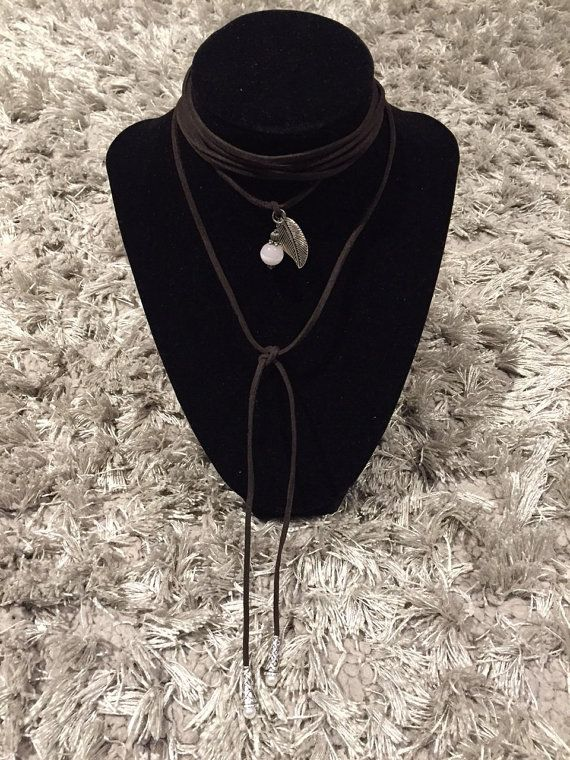 Suede choker wrap necklace with pendants and pearls