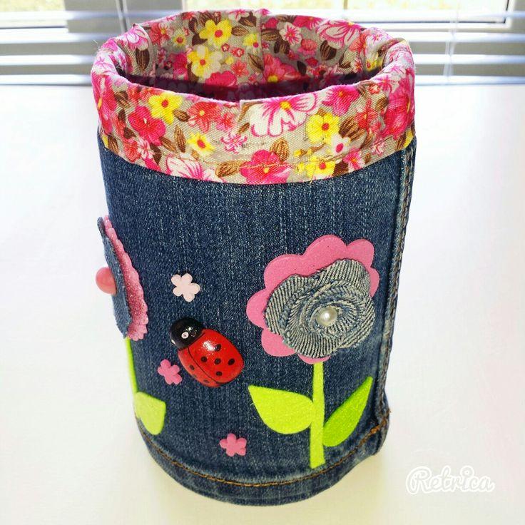 Riciclo creativo - portapenne rivestita con jeans