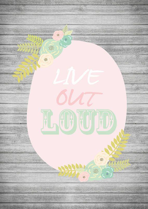 LIVE OUT LOUD Instant Digital Download A4 Art Print vintage theme