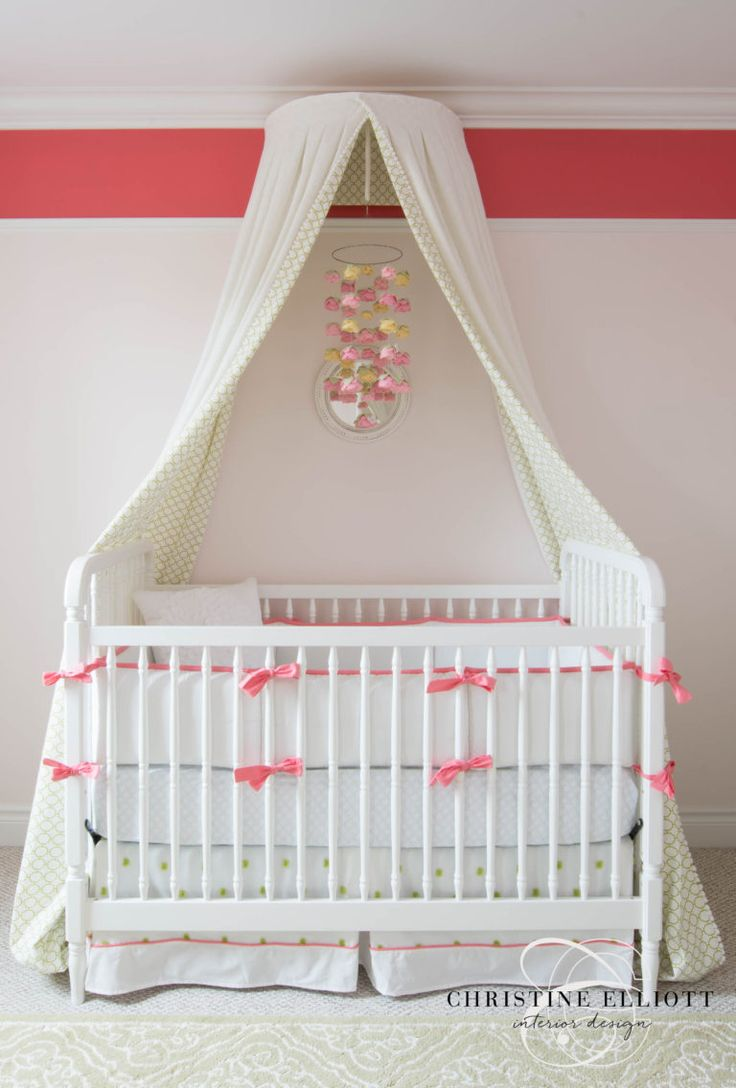 Stunning canopy for this popular  pink and green girls color combo   in the nursery.