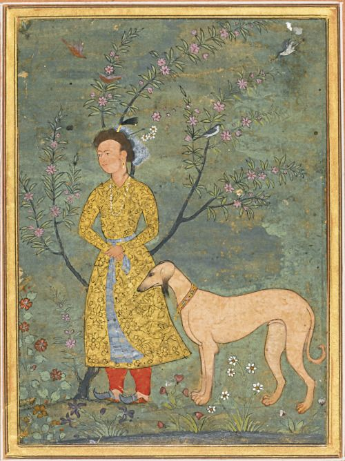 pmikos: A portrait of a nobleman with a dog, attributable to a follower of Farrukh Beg, possibly Muhammad Ali, Mughal, early 17th century gouache with gold on paper, mounted on an album page with borders of orange and blue decorated with gold foliate motifs of gold flecks painting: 11.9 by 8.8cm.leaf: 32.4 by 22.4cm.