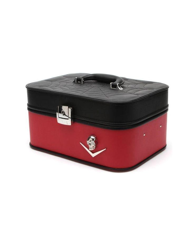 Lux De Ville | Elvira Vanity Case Matte Black & Red