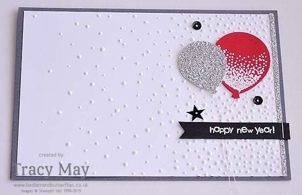 Happy New Year Card Softly Falling & Balloon Celebration from Stampin' Up! Tracy May