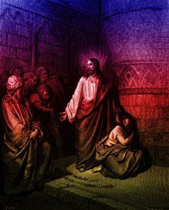 """John Chapter 8: Jesus and the Woman Taken in Adultery - """"So when they continued asking him, he lifted up himself, and said unto them, He that is without sin among you, let him first cast a stone at her."""""""