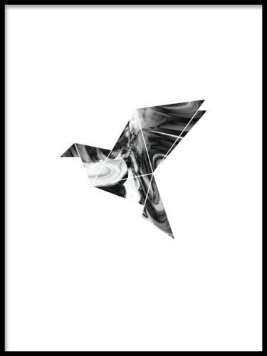 Modern plansch med duva. En grafisk och modern poster med geometrisk motiv av en duva. Ett motiv som passar perfekt till inredning i grå toner, men även snyggt att balansera upp till färgrik inredning.