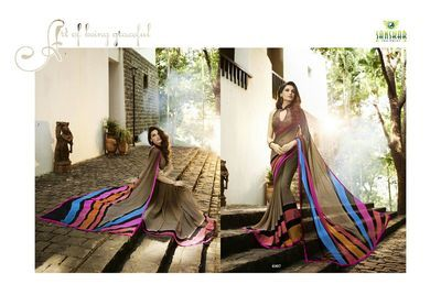 Brown Printed Georgette Saree(Rf20050) Sarees on Shimply.com