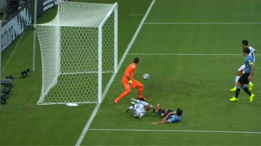 My word; would you believe it? Costa Rica win another free-kick following a foul by Walter Gargano and again it is sent to Oscar Duarte at the far post. This time he gobbles up the opportunity, diving in to steer a header beyond Fernando Muslera. 1-2