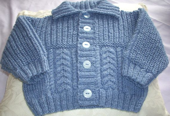 Hand Knit Baby Jacket with Collar-fisherman by TheKnittingNannieGB